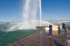 Switzerland,Geneca the Jet d`Eau, literally meaning `water jet`. Jet d`Eau, literally meaning `water jet`, is the huge Fountain on the Geneva Lake. Its strong royalty free stock photos