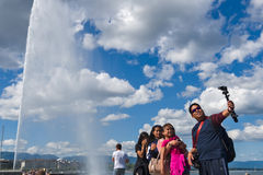 Geneva Switzerland the Jet d`Eau, literally meaning `water jet`. Jet d`Eau, literally meaning `water jet`, is the huge Fountain on the Geneva Lake. Its strong royalty free stock photo