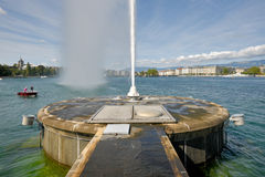 Switzerland,Geneca the Jet d`Eau, literally meaning `water jet`. Jet d`Eau, literally meaning `water jet`, is the huge Fountain on the Geneva Lake. Its strong stock image