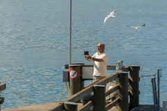 Switzerland,Geneca selfie. A selfie on the Geneva lake near the Jet d`eau stock photos