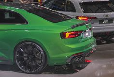 Switzerland; Geneva; March 8, 2018; Audi ABT RS5-R rear side; Th. E 88th International Motor Show in Geneva from 8th to 18th of March, 2018 royalty free stock image