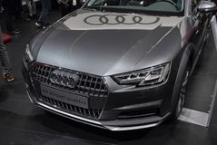 Switzerland; Geneva; March 8, 2018; Audi A4 allroad quattro front; The 88th International Motor Show in Geneva from 8th to 18th o. F March, 2018 royalty free stock photos