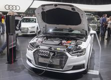 Switzerland; Geneva; March 8, 2018; Audi A3 e-trone with opened. Hood; The 88th International Motor Show in Geneva from 8th to 18th of March, 2018 Stock Image