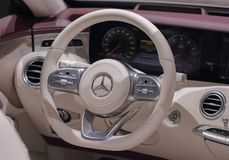 Switzerland; Geneva; March 8, 2018;         The close up of Merc. Edes-Benz S 560 Cabriolet steering wheel; the 88th International Motor Show in Geneva from 8th Royalty Free Stock Images