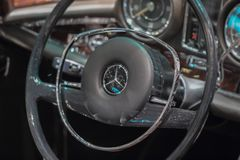 Switzerland; Geneva; March 8, 2018;         The close up of Merc. Edes-Benz 280 SL Pagoda steering wheel; the 88th International Motor Show in Geneva from 8th to Stock Photo