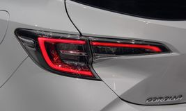 Switzerland; Geneva; March 9, 2019; A close up of Toyota Corolla brake light; The 89th International Motor Show in Geneva from 7th. To 17th of March,  2019 stock image