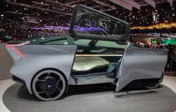 Switzerland; Geneva; March 8, 2018; The Icona Nucleus electric c. Ar concept, interior; the 88th International Motor Show in Geneva from 8th to 18th of March royalty free stock photography