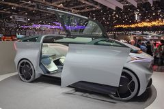 Switzerland; Geneva; March 8, 2018; The Icona Nucleus electric c. Ar concept, left side; the 88th International Motor Show in Geneva from 8th to 18th of March royalty free stock photo