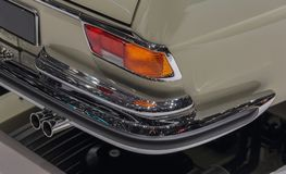 Switzerland; Geneva; March 8, 2018; A macro close up view of Mercedes-Benz 280 SE Cabriolet rear bumper; the 88th International. Motor Show in Geneva from 8th royalty free stock photography