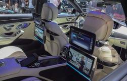 Switzerland; Geneva; March 8, 2018; Mercedes-Benz Brabus interior, front seat rear side; the 88th International Motor Show in Gen royalty free stock photo