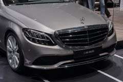 Switzerland; Geneva; March 8, 2018; The Mercedes Benz C 200 4 Ma. Tic front; The 88th International Motor Show in Geneva from 8th to 18th of March, 2018 Royalty Free Stock Images
