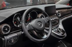 Switzerland; Geneva; March 8, 2018; Mercedes-Benz Marco Polo HORIZON 250d 4Matic dashboard; the 88th International Motor Show in royalty free stock photo