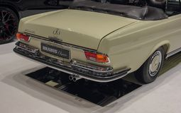 Switzerland; Geneva; March 8, 2018; The Mercedes-Benz 280 SE Cab. Riolet rear side, taken from the right; the 88th International Motor Show in Geneva from 8th to royalty free stock image