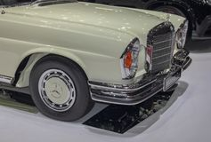 Switzerland; Geneva; March 8, 2018; The Mercedes-Benz 280 SE Cab. Riolet front, taken from the right; the 88th International Motor Show in Geneva from 8th to stock photography