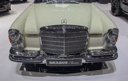 Switzerland; Geneva; March 8, 2018; The Mercedes-Benz 280 SE Cab. Riolet front; the 88th International Motor Show in Geneva from 8th to 18th of March, 2018 royalty free stock photos