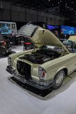 Switzerland; Geneva; March 8, 2018; Mercedes-Benz 280 SE Cabriolet with opened bonnet; the 88th International Motor Show in. Geneva from 8th to 18th of March stock image
