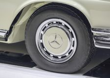 Switzerland; Geneva; March 8, 2018; Mercedes-Benz 280 SE Cabriolet wheel; The 88th International Motor Show in Geneva from 8th to. 18th of March, 2018 royalty free stock photography