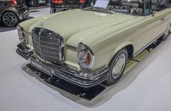 Switzerland; Geneva; March 8, 2018; The Mercedes-Benz 280 SE Cab. Riolet front, taken from the left; the 88th International Motor Show in Geneva from 8th to 18th royalty free stock photo