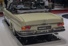 Switzerland; Geneva; March 8, 2018; Mercedes-Benz 280 SE Cabriolet rear side; the 88th International Motor Show in Geneva from 8th. To 18th of March, 2018 royalty free stock image