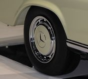 Switzerland; Geneva; March 8, 2018; Mercedes-Benz 280 SE Cabriolet wheel; The 88th International Motor Show in Geneva from 8th to. 18th of March, 2018 stock image