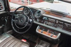 Switzerland; Geneva; March 8, 2018; Mercedes-Benz 280 SL Pagoda. Dashboard; the 88th International Motor Show in Geneva from 8th to 18th of March, 2018 stock photos