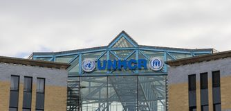 Switzerland; Geneva; March 9, 2018; Office of United Nations High Commissioner for Refugees, UNHCR 3D sign board. stock photo