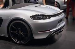 Switzerland; Geneva; March 8, 2018; Porsche 718 Boxster GTS; The royalty free stock image