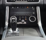 Switzerland; Geneva; March 8, 2018; Range Rover automatic gearbox lever; the 88th International Motor Show in Geneva from 8th to. 18th of March, 2018 stock image