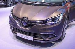 Switzerland; Geneva; March 8, 2018; The Renault Scenic front; Th stock photo