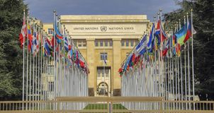 Switzerland; Geneva; March 9, 2018; The rows of the United Nations member states flags in front of the United Nations Office in G. Eneva royalty free stock image