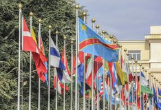 Switzerland; Geneva; March 9, 2018; Two rows of the United Natio. Ns member states flags; Front of the United Nations Office in Geneva stock photos
