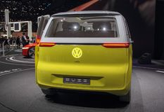 Switzerland; Geneva; March 8, 2018; Volkswagen Buzz rear side; the 88th International Motor Show in Geneva from 8th to 18th of. March, 2018 royalty free stock photo