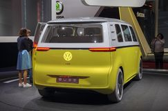 Switzerland; Geneva; March 10, 2018; Volkswagen Buzz - rear side; the 88th International Motor Show in Geneva from 8th to 18th of. March, 2018 stock images