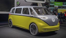 Switzerland; Geneva; March 10, 2018; Volkswagen Buzz - right side; the 88th International Motor Show in Geneva from 8th to 18th of. March, 2018 stock photos
