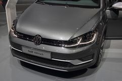 Switzerland; Geneva; March 8, 2018; The Volkswagen Golf Alltrack front; The 88th International Motor Show in Geneva from 8th to 1 stock photography