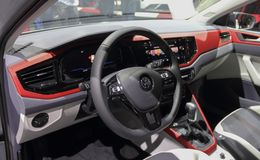 Switzerland; Geneva; March 8, 2018; The Volkswagen Polo GTI interior; The 88th International Motor Show in Geneva from 8th to stock photo