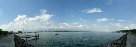 Switzerland, Geneva, panoramic view of Lake Geneva Royalty Free Stock Image