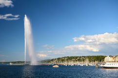 Switzerland, Geneva, view of Lake Geneva Stock Images