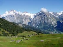 Switzerland, Grindelwald e o Wetterhorn Imagens de Stock Royalty Free