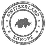 Switzerland grunge rubber stamp map and text. Royalty Free Stock Images