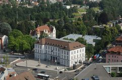 Switzerland: The headquarter of the Aargauer Police in Baden City. Is at the corner of the traffic cross and near the limmat bridge royalty free stock photography