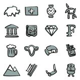 Switzerland Icons Freehand 2 Color Stock Photo