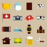 Switzerland icons set, flat style Royalty Free Stock Images
