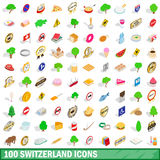 100 switzerland icons set, isometric 3d style Stock Images