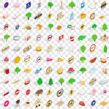 100 switzerland icons set, isometric 3d style Royalty Free Stock Photography