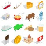 Switzerland icons set, isometric 3d style Stock Photography