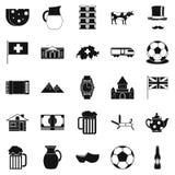 Switzerland icons set, simple style Royalty Free Stock Image