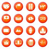 Switzerland icons vector set. Of red circles isolated on white background Stock Photo