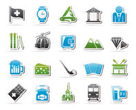 Switzerland industry and culture icons. Vector icon set Stock Images