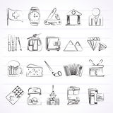 Switzerland industry and culture icons. Vector icon set Royalty Free Stock Images
